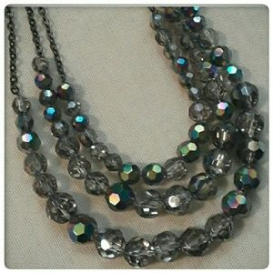 Cookie Lee Charcoal Color Crystal Necklace Jewelry